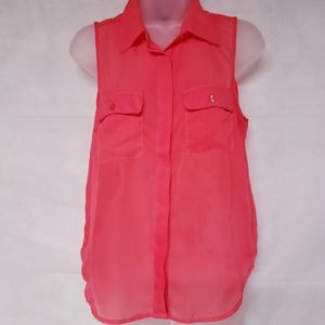 WET SEAL Coral Chiffon Sleeveless Button Blouse
